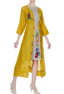 light-grey-tussar-linen-dress-with-front-open-jacket