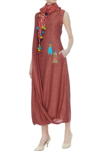 brown-cowl-maxi-dress-with-bandhani-dyed-scarf