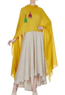 beige-asymmetrical-long-dress-with-mustard-cape