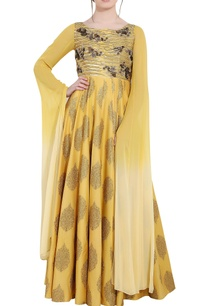 mustard-yellow-chanderi-sequin-ari-technique-long-anarkali