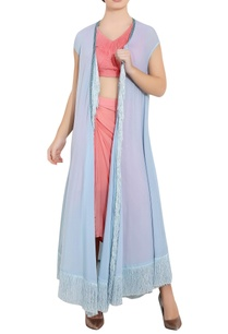deep-pink-powder-blue-chiffon-cutdana-work-ari-technique-crop-top-drapped-dhoti-with-long-separate-jacket