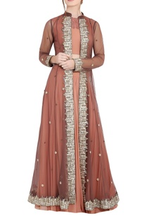 peach-brown-georgette-pipe-work-ari-technique-crop-top-skirt-with-separate-long-jacket