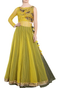 yellow-green-soft-net-sequin-ari-technique-crop-top-skirt-with-angrakha-long-jacket