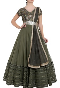 earth-green-olive-green-soft-net-sequin-ari-technique-anarkali-with-dupatta
