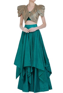 satin-exaggerated-jacket-with-tiered-lehenga-bustier