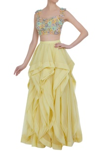 frilly-layered-lehenga-with-flower-motif-blouse