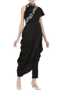 velvet-layered-jumpsuit-with-bead-embroidered-sash