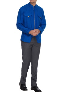 royal-blue-linen-zipper-style-shirt
