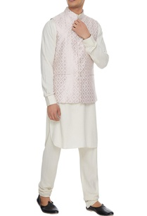 powder-pink-chanderi-banarasi-silk-blend-nehru-jacket-with-kurta-churidar