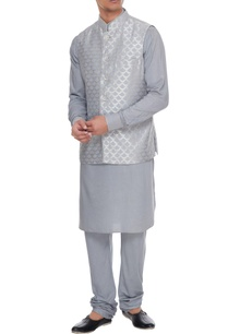 powder-blue-chanderi-banarasi-silk-blend-nehru-jacket-with-kurta-churidar