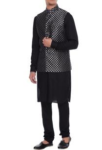 black-chanderi-banarasi-silk-blend-nehru-jacket-with-kurta-churidar