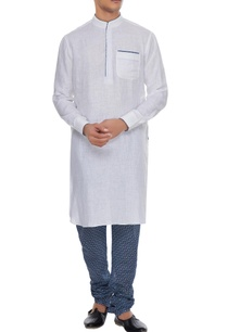 blue-white-linen-kurta-with-printed-churidar