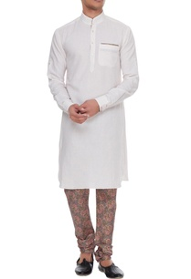 light-pink-white-linen-kurta-with-silk-printed-churidar