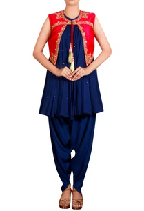 navy-blue-red-raw-silk-zardozi-jacket-with-georgette-kurta-cotton-silk-blend-dhoti-pants