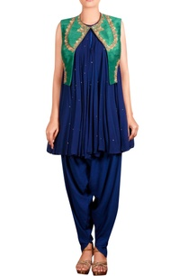 navy-blue-green-raw-silk-zardozi-jacket-with-georgette-kurta-cotton-silk-blend-dhoti-pants