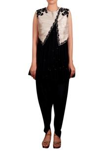 black-beige-raw-silk-zardozi-jacket-with-georgette-kurta-cotton-silk-blend-dhoti-pants