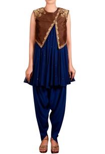 blue-brown-raw-silk-zardozi-jacket-with-georgette-kurta-cotton-silk-blend-dhoti-pants