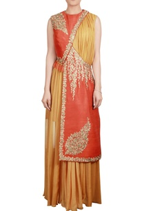 orange-yellow-raw-silk-jacket-with-chiffon-yellow-long-kurta