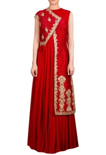 red-raw-silk-asymmetric-tassel-jacket-with-inner-long-kurta