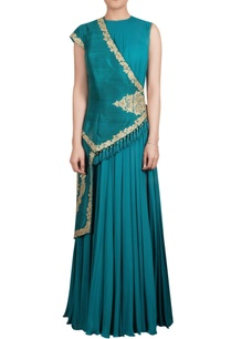 teal-raw-silk-asymmetric-jacket-with-inner-chiffon-maxi-kurta