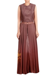 brown-dupion-silk-georgette-cotton-satin-lycra-machine-embroidered-anarkali-tunic-with-trousers