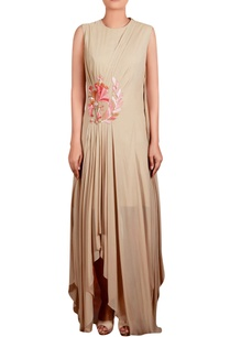 beige-georgette-hand-embroidered-long-draped-tunic