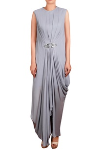 grey-georgette-hand-embroidered-long-draped-tunic