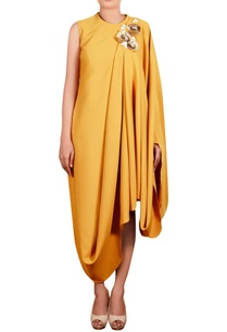 mustard-yellow-moss-crepe-hand-embroidered-long-draped-tunic