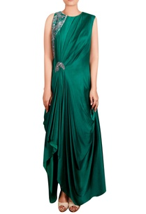 sea-green-modal-satin-hand-embroidered-long-draped-tunic
