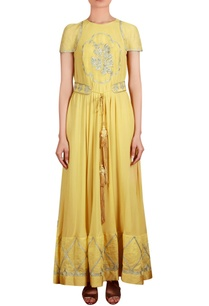 yellow-georgette-raw-silk-linen-machine-hand-embroidered-flared-tunic