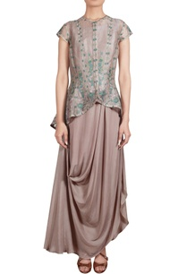 grey-draped-tunic-with-thread-embroidered-organza-jacket