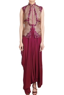 wine-draped-tunic-with-thread-embroidered-organza-jacket