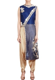 midnight-blue-high-low-tunic-with-beige-dhoti-pants