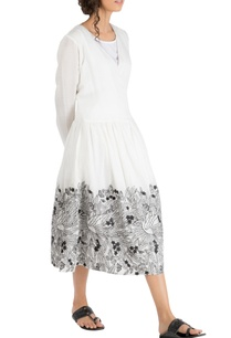 ivory-khadi-cotton-gathered-wrap-style-dress