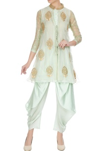 sea-green-organza-front-open-jacket-with-inner-dhoti-pants