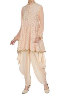 peach-scallop-short-kurta-with-dhoti-pants