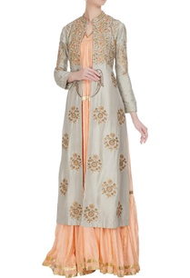 grey-raw-silk-hand-embroidered-front-open-jacket-with-peach-tiered-dress