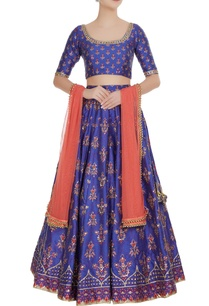 royal-blue-raw-silk-printed-sequin-lehenga-set