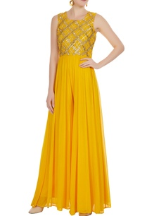 yellow-georgette-gota-patti-work-jumpsuit