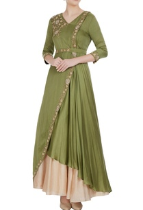 mehendi-green-modal-satin-draped-gown-with-beige-skirt-belt