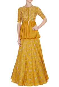 mustard-tussar-silk-georgette-hand-embroidered-lehenga-with-peplum-blouse