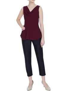 maroon-cowl-neckline-sleeveless-moss-georgette-peplum-blouse