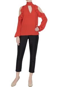 orange-moss-georgette-cold-shoulder-blouse