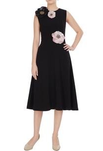 black-micro-crepe-peonies-a-line-midi-dress