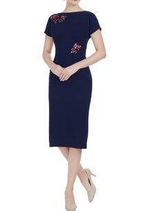 navy-blue-micro-crepe-peonies-pencil-dress