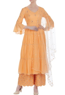 ruffle-sleeves-kurta-with-embroidered-pants-and-dupatta