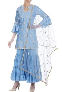 ruffle-sleeves-kurta-with-embroidered-gharara-set