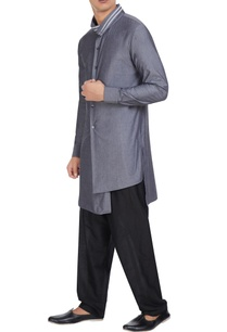 smoke-grey-cotton-high-collar-kurta
