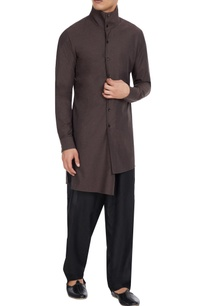 chocolate-brown-high-collar-shirt-style-kurta