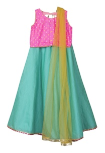 sea-green-chanderi-lehenga-with-bandhani-top-dupatta